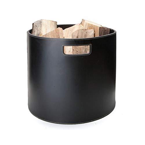 Edler Holzkorb Korb für Brennholz Kamin Ofen Wollkorb Zeitungsständer schwarz