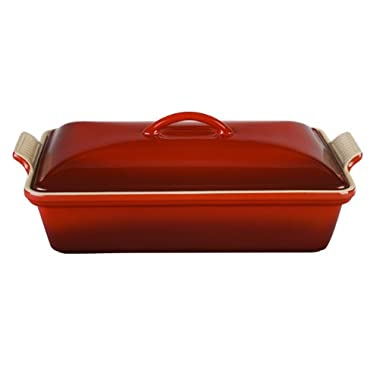 Le Creuset Heritage Stoneware 12-by-9-Inch Covered Rectangular Dish, Cerise (Cherry Red)
