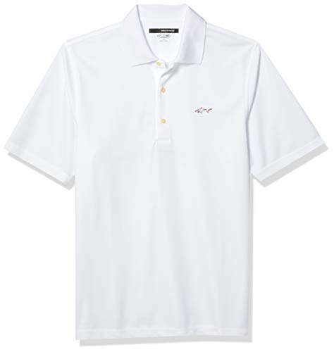 Greg Norman Collection Mens Micro Pique Performance Polo, White, X-Large