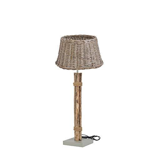 Maravillosa lámpara de pie decorativa de madera con pantalla de mimbre de 60 cm