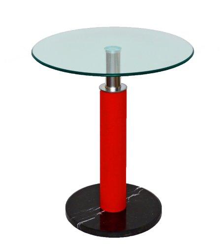 ts-ideen Glastisch Rund Beistelltisch Bartisch 60 cm Rund Ecktisch Schwarz Rot