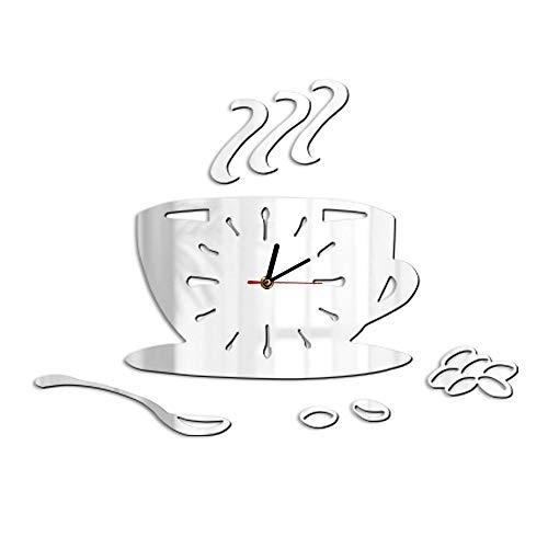 HHKLSF Coffee Shop Art Coffee DIY Wanduhr Cafe Beans Acryl Spiegeleffekt Hängende Kaffeetasse...