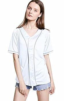 Women Baseball Jersey Hip Hop Hipster Button Down Plain Baseball T Shirt