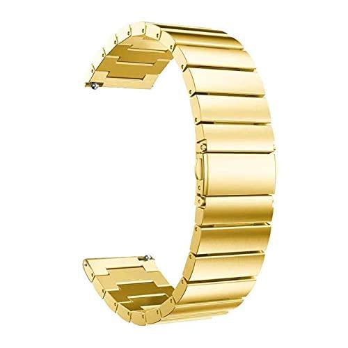 Correa de acero inoxidable para reloj inteligente, 18 mm, 20 mm, 22 mm, repuesto para reloj inteligente, 20 mm, color dorado