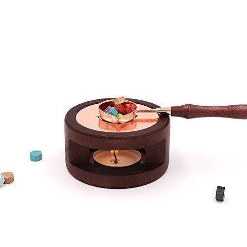 Kit de sello de cera vintage, sellador de cera calentador de madera, cuchara para derretir horno, cuchara para quemar y derretir pintura