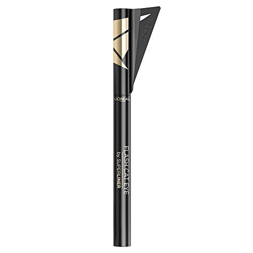 L'Oréal Paris Superliner Flash Cat Eye ultra-schwarzer Eyeliner-Stift, mit abnehmbarer Schablone...