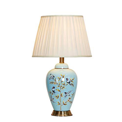 Bedlamp, slaapkamer, tafellamp, oogverzorging, woonkamer, modelhuis, tafellamp, blauwe keramiek, vogels en bloemen bureaulamp