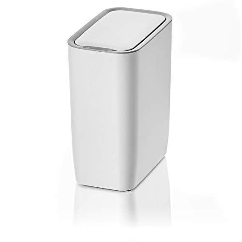 AMARE Automatischer Sensor Kosmetikeimer, Mülleimer mit 9 L Volumen, rechteckig in Weiß, ca. 25 x 15,5 x 30 cm