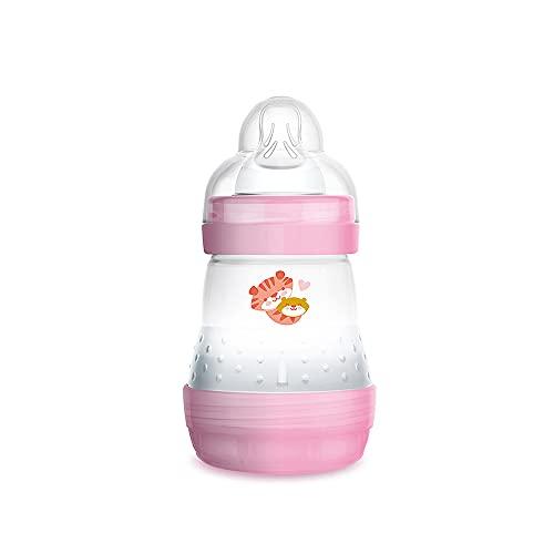 MAM Biberón Easy Start Anti-Colic A118, Biberón Anticólicos Patentado con Tetina 1 de Silicona SkinsofTM Ultrasuave, para Bebés a partir de 0 Meses, 160 Ml, Rosa, Autoesterilizable en 3 minutos