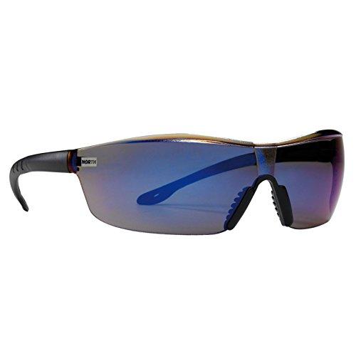 NORTH Schutzbrille TACTILE klar, grau, blau verspiegelt Nylon und PVC-Materialmix nur 22g - schweisser-king.de: - Arbeitsschutzbrille, Arbeitsbrille, Farbe:blau verspiegelt