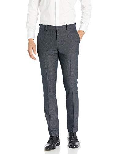 Perry Ellis Men's Portfolio Very Slim Heathered Pattern Dress Pant, Navy, 32x32