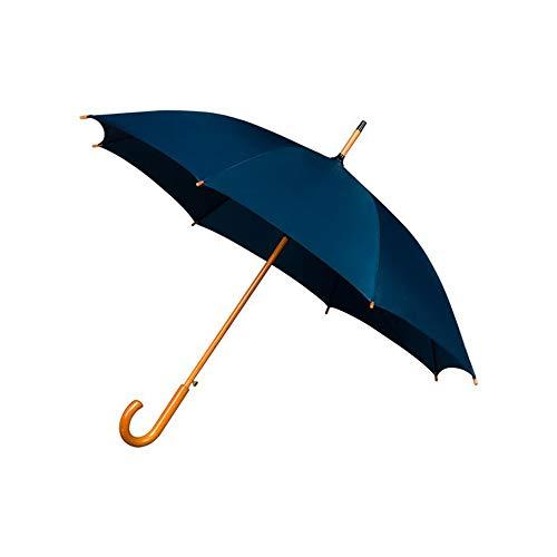 Falconetti Uni Regenschirm, lang, für Damen und Herren, Durchmesser über 1 m, automatisches Öffnungssystem, robust, mit Griff und Griff aus Holz, Blau (Dunkelblau)