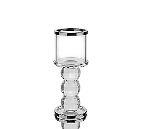takestop® kandelaar 3 ballen H 18 cm van glas DF_65495 kandelaar transparant kristal bonbonnière cadeau-idee voor bruiloft party