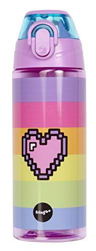 Fringoo - Borraccia per bambini con cannuccia, 100% senza BPA, 600 ml, per scuola materna, bottiglia da viaggio per bambini, Bambino, Cuore Rainbow Pixel, 600 ml