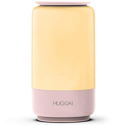 LED Nachttischlampe,HUGOAI Wiederaufladbares Nachtlicht mit 16 Millionen RGB und Farbtemperatur Farbwechsel Schlummerlicht,Tischlampe zum Lesen,Schlafen,Entspannen für Schlafzimmer Wohnzimmer,Hellpink