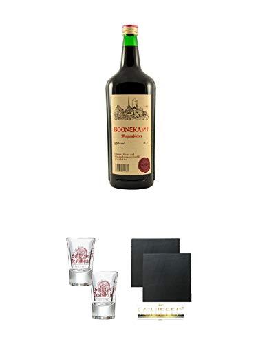Schlitzer Boonekamp 49% 0,7 Liter + Schlitzer Stamper 0,02 Liter mit Eichstrich 2 Stück + Schiefer Glasuntersetzer eckig ca. 9,5 cm Ø 2 Stück