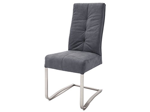 möbelando Schwingstuhl Esszimmerstuhl Schwinger Küchenstuhl Stuhl Tyrone I (2-er Set) Grau