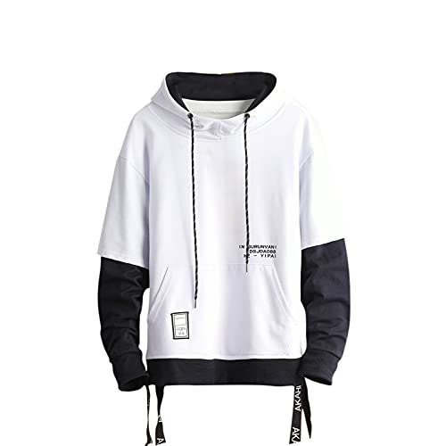 GURUNVANI Contrast Color Pullover Hoodie Mens Patchwork Hoodies Men (White, LARGE)
