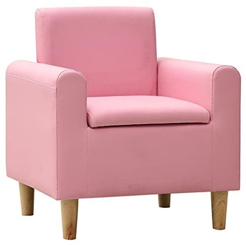 vidaXL Sofá Infantil Niños Sillón Asiento Silla Salón Sala de Estar Dormitorio Habitación Muebles Mobiliario Cómodo de Cuero Sintético Rosa