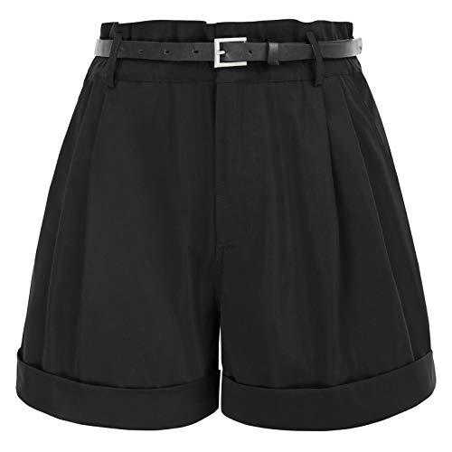 GRACE KARIN Pantaloni Corti Donna Elastica a Vita Alta Elegante Casual Estivo Hot Pants Nero 2XL CL0154S21-2