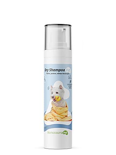 DYNAMOPET BenesserePet Dry Shampoo Secco per Cani e Gatti 200 ml, Shampoo Cani Senza Riscaquo, Pulisce Il Manto del Tuo Cane, Facile e Pratico, Shampoo Mousse Detergente, Pelo Lucido e Morbido