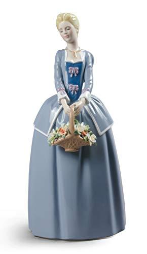LLADRÓ Figura Mujer Primeras Flores De Mi Jardín. Figura Mujer de Porcelana.