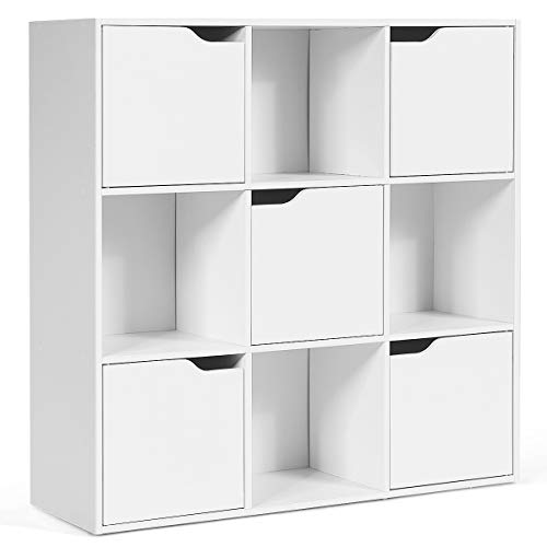 Giantex 9-Cube Storage Organizer, Storage Cabinet with 4 Open Cubes and 5 Cabinets, Free Standing Wooden Cubby Bookcase, Compartment Units for Home Office, 3-Tier Bookshelf for Books, Toys