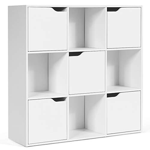 COSTWAY Bücherregal 9 Fächer, Standregal, Büroregal freistehend, Aktenregal Ordnerregal Aufbewahrungsregal (weiß)