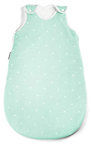 Ehrenkind® Babyschlafsack Rund | Bio-Baumwolle | Ganzjahres Schlafsack Baby Gr. 62/68 Farbe Mint mit weißen Sternen