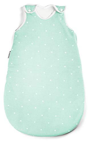 Ehrenkind® Baby Sommerschlafsack Rund | Bio-Baumwolle | Sommer Schlafsack Baby Gr. 50/56 Farbe Mint mit weißen Sternen