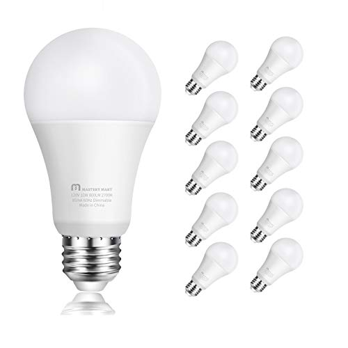 Led Light Bulbs 10 Watt [60 Watt Equivalent], A19 - E26 Dimmable, 2700K Soft White, 800 Lumens, Medium Screw Base, Energy Star, UL Listed by Mastery Mart (Pack of 10)