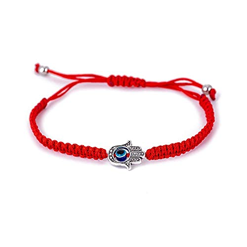 MagiDeal Red String Kabbalah Evil Eye Charm Bracelets for Protection and Luck Adjustable Hand-Woven Red Cord Thread Friendship Bracelet Amulet Jewelry (red eye)