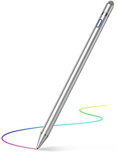 Caneta digital Active Stylus para telas de toque, compatível com iPad, iPhone, telefones e tablets Samsung, para desenhar e escrever à mão em smartphones e tablets com tela de toque (iOS / Android) (Silver)