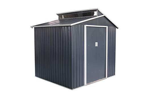 GARDIUN KIS12986 - Caseta Metálica Chester 4,25 m² Exterior 193x220x214 cm Acero Galvanizado Gris Antracita