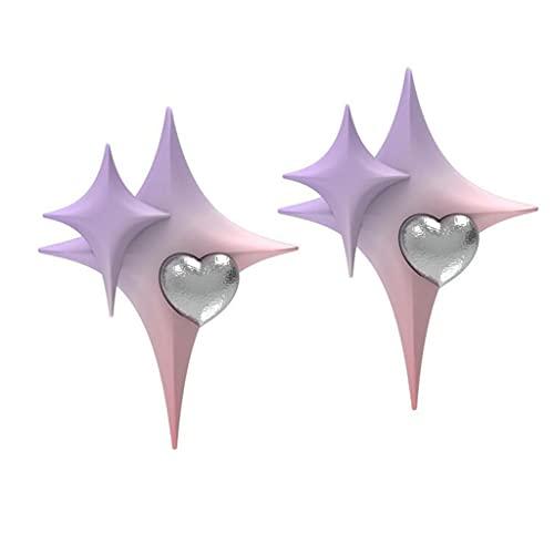 Yoonwi Orecchini a perno a forma di stella, a forma di cuore, con sfumatura viola, rosa, idea regalo