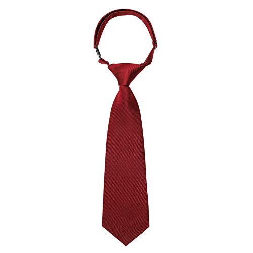 Kajeer Corbatas para niños y niñas Corbata pre-atada - Corbatas escolares ajustables Corbata formal de satén de color liso para niños Niños Niñas Boda Uniforme escolar (Vino rojo, niños)