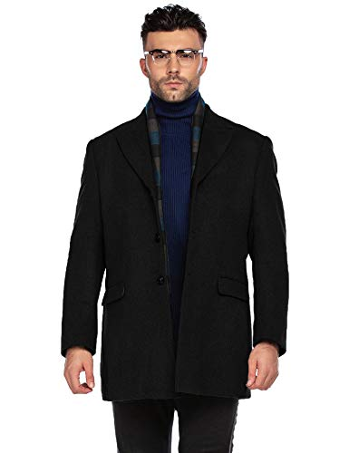 COOFANDY Mens Wool Trench Coat Winter Slim Fit Pea Coat with Free Removable Plaid Scarf (Black L)