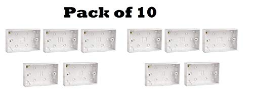 10xDouble Twin 25mm Blanco Pared Pattress Back Box 13 Amp,2 Gang Enchufe Eléctrico