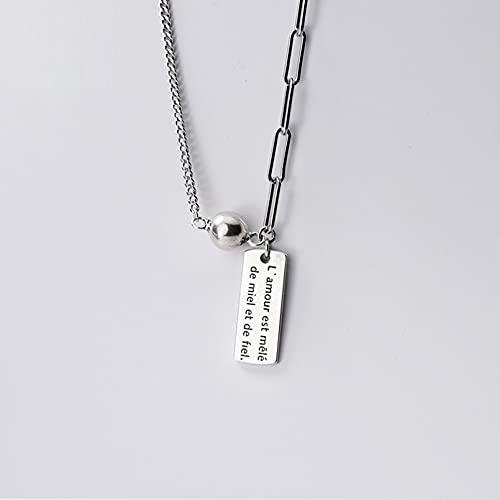 N/A Jahrestag s925 Silber Armband weiblich Silber industrielle Wind runde perlen asymmetrische französische Buchstaben quadratische Halskette Hochzeitstag Muttertag...