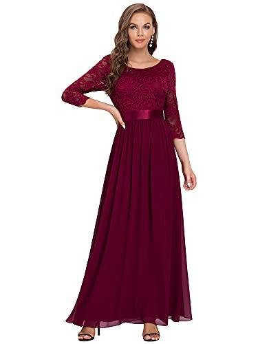 Ever-Pretty Vestito da Cerimonia Donna 3/4 Manich Stile Impero Maxi Linea ad A Pizzo Chiffon Abiti...