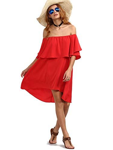 Romwe Women's Off The Shoulder Ruffle Casual Loose Shift Dress red M