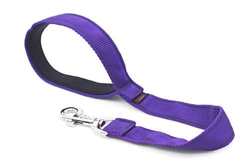 Een korte hondenriem met sterke greep van Techline 50 cm / 19 inch, een handgemaakte lijn met neopreen hanger voor middelgrote en grote honden belastbaar tot 500 kg. Originele DogDirect London Lea50 cm Neo, Violett-noir