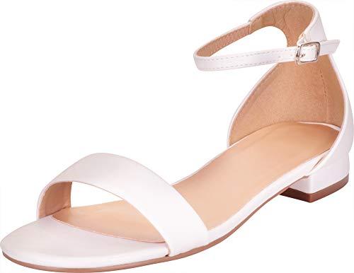 Cambridge Select Women's Single Band Buckled Ankle Strap Low Block Heel Sandal,7.5 B(M) US,White PU