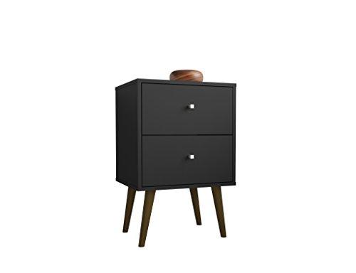 Manhattan Comfort Liberty Modern 2 Drawer Bedroom Nightstand/End Table, Black