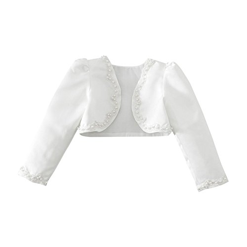 FEESHOW Girls Kids Beaded Long Sleeve Bolero Shrug Jacket Short Cardigan Wedding Flower Dress Cover ups White 5-6