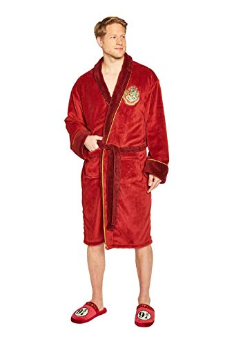 Groovy Harry Potter Platform 9 & 3/4 Zweinstein Express Badjas, Fleece, Rood, Heren