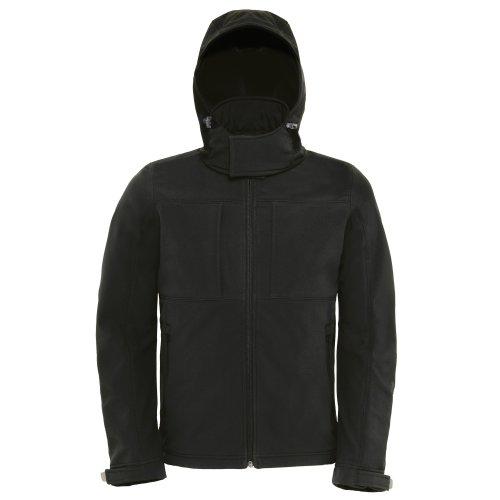 B&C Herren Softshell-Jacke mit Kapuze, Fleece-Innenfutter, atmungsaktiv, wasserabweisend, Winddicht (XL) (Schwarz)