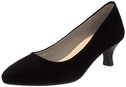 [オリエンタルトラフィック] パンプス レディース ポインテッドトゥ 美脚 ヒール 大きいサイズ 小さいサイズ 本革 歩きやすい R-6003 BLACK 21.5 cm E