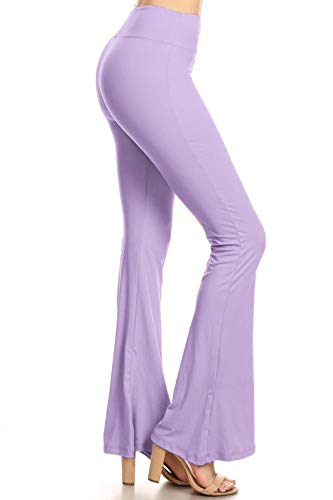 Leggings Depot PZA128-LAVENDER-M Solid Palazzo Pants, Medium