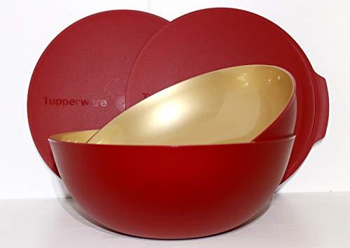 Tupperware Allegra 3,5 L & 5,0l rot Gold Schale Schüssel Servierschale Allegra-Gold